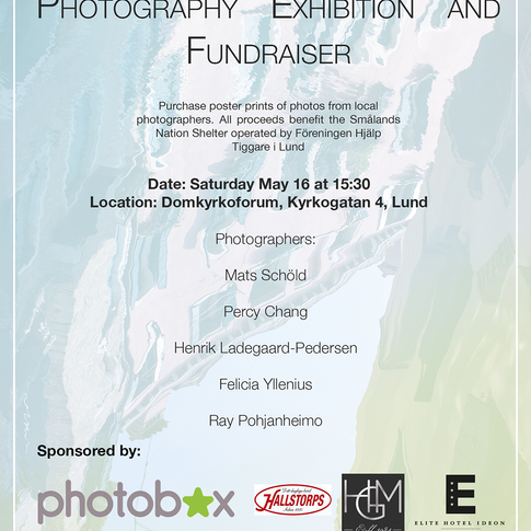 The poster I designed for a charity photography exhibition taking place in Lund, Sweden