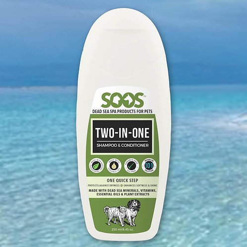 SOOS Natural Dead Sea Two-In-One Pet Shampoo & Conditioner For Dogs & Cats 250ml