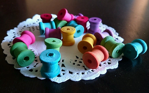 10 x Small Colour Wooden Spools