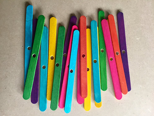 Colour Wooden Popsicle Sticks x 20