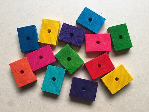 Colour Rectangle Pine Wood Slices x 5