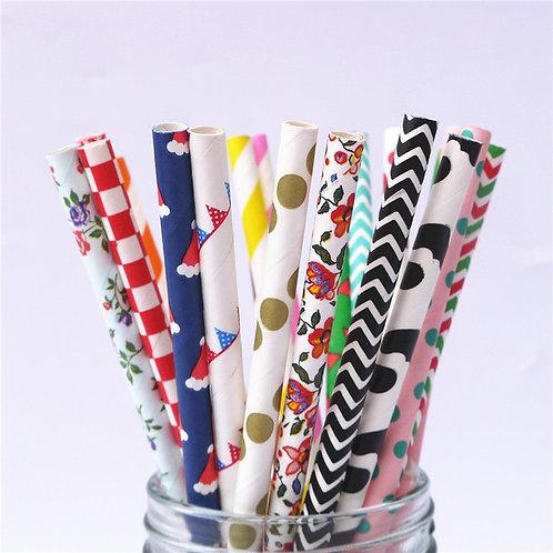 Mix Pattern Paper Straws x 25