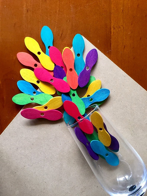 Colour Wooden Bowtie Sticks x 10+