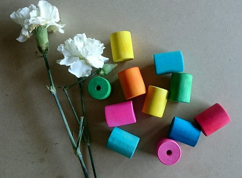 Colour Wooden Cylinder Beads x 5