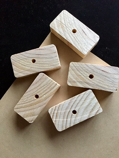 Natural Pine Wood Bricks x 5