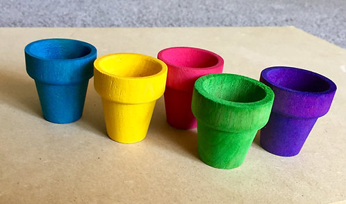 5 x Colour Wooden Flower Pots