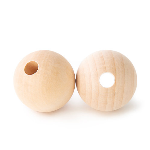 Large Natural Round Wood Beads x 5