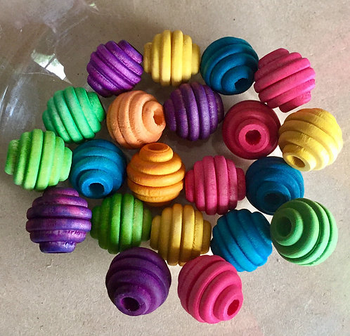 Colour Wooden Round Beehive Beads