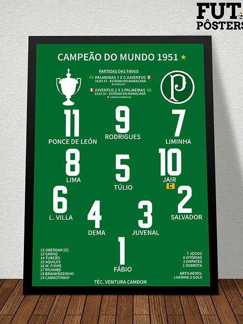 Pôster Palmeiras Campeão do Mundo 1951 - 29,7x 42 cm (A3)