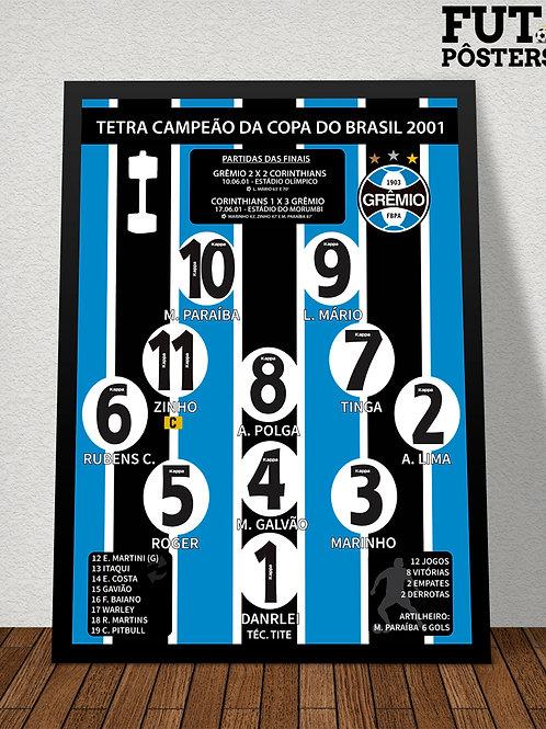 Pôster Grêmio Tetra Campeão da Copa do Brasil 2001 - 29,7 x 42 cm (A3)