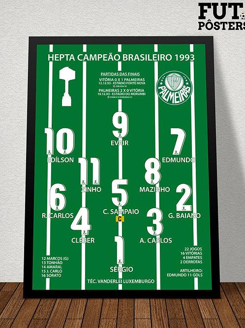Pôster Palmeiras Hepta Campeão Brasileiro 1993 - 29,7 x 42 cm (A3)