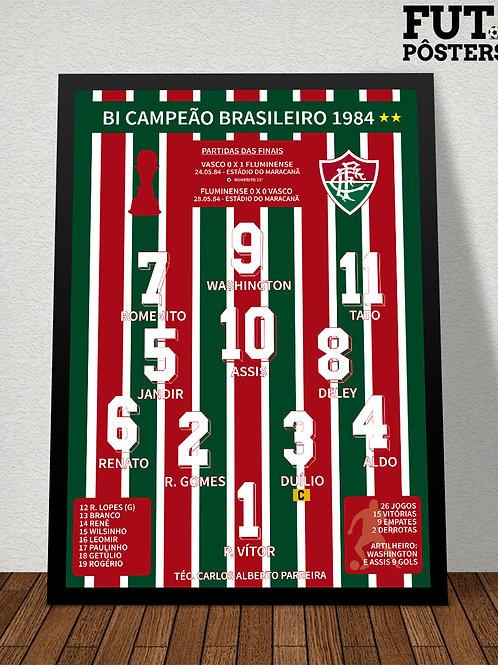 Pôster Fluminense Bi Campeão Brasileiro 1984 - 29,7 x 42 cm (A3)