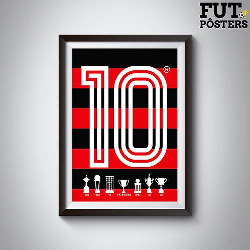Pôster Idolos do Flamengo - Zico - 29,7 x 42 cm (A3)
