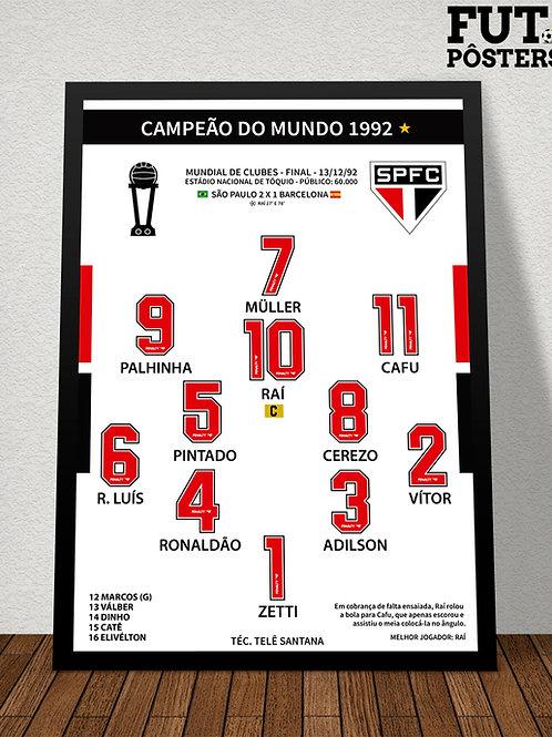 Pôster São Paulo Campeão do Mundo 1992 - 29,7 x 42 cm (A3)