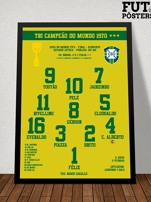 Pôster Brasil Tri Campeão do Mundo 1970 - 29,7 x 42 cm (A3)