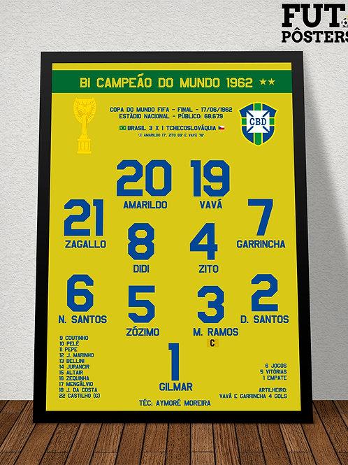 Pôster Brasil Bi Campeão do Mundo 1962 - 29,7 x 42 cm (A3)