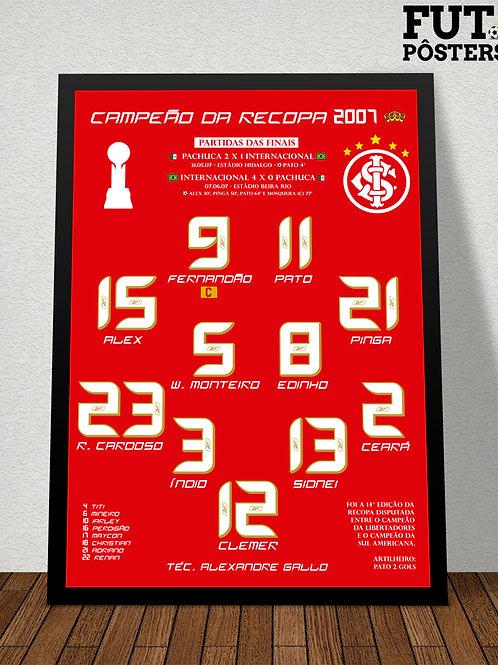 Pôster Inter Campeão da Recopa 2007 - 29,7 x 42 cm (A3)