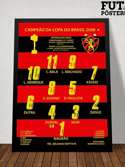 Pôster Sport Campeão da Copa do Brasil 2008 - 29,7 x 42 cm (A3)
