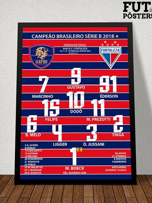 Pôster Fortaleza Campeão Brasileiro da Série B 2018 - 29,7 x 42 cm (A3)