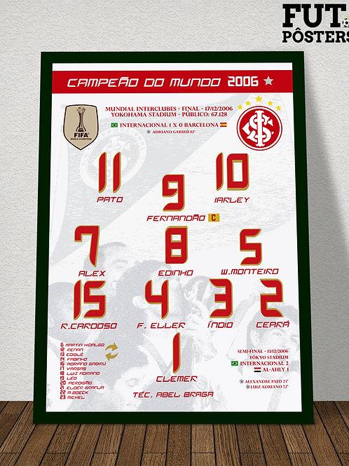 Pôster Inter Campeão do Mundo 2006 - 29,7 x 42 cm (A3)