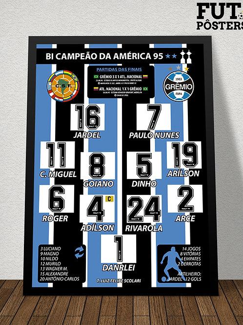 Pôster Grêmio Bi Campeão da Libertadores 1995 - 29,7 x 42 cm (A3)