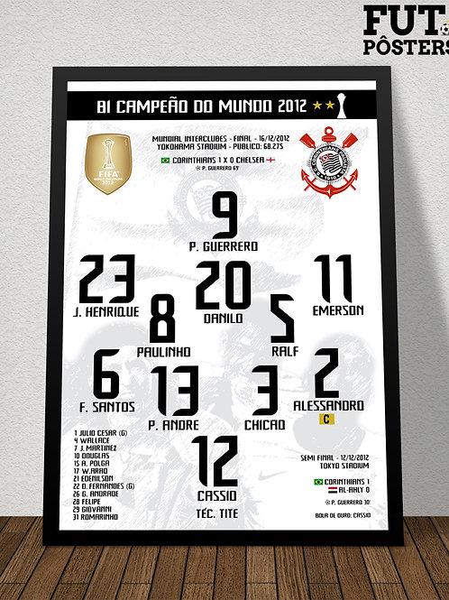 Pôster Corinthians Bi Campeão do Mundo 2012 - 29,7 x 42 cm (A3)