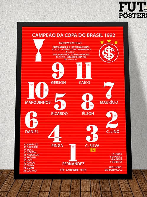 Pôster Inter Campeão da Copa do Brasil 1992 - 29,7 x 42 cm (A3)