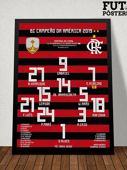 Pôster Flamengo Bi Campeão da Libertadores 2019 - 29,7x 42 cm (A3)