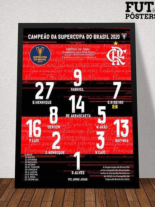 Pôster Flamengo Campeão da Supercopa do Brasil 2020 - 29,7 x 42 cm (A3)