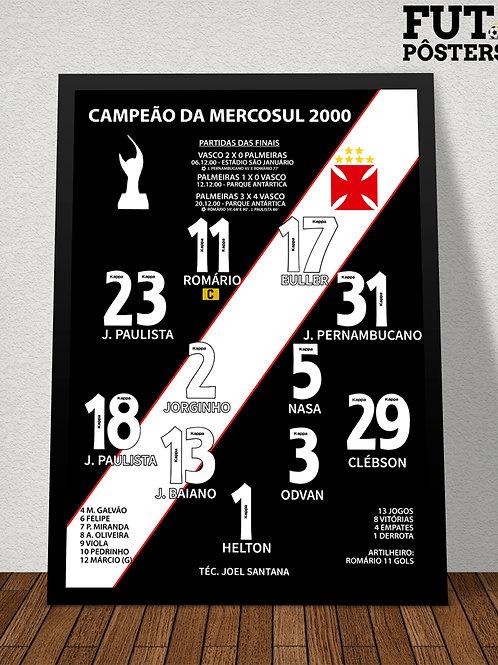 Pôster Vasco Campeão da Mercosul 2000 - 29,7 x 42 cm