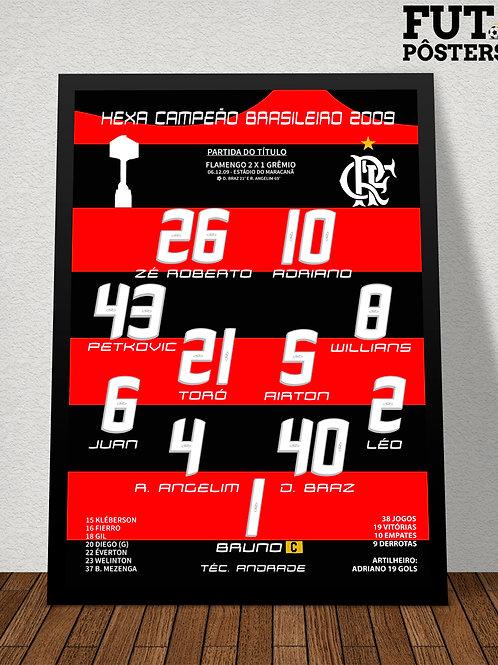 Pôster Flamengo Hexa Campeão Brasileiro 2009 - 29,7 x 42 cm (A3)