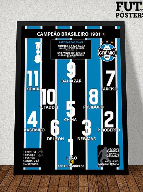 Pôster Grêmio Campeão Brasileiro 1981 - 29,7 x 42 cm (A3)