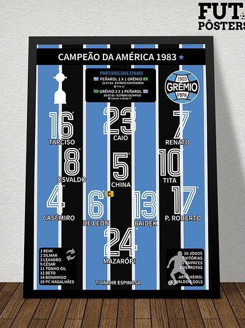 Pôster Grêmio Campeão da Libertadores 1983 - 29,7 x 42 cm (A3)