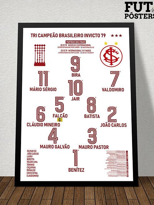 Pôster Inter Tri Campeão Brasileiro Invicto 1979 - 29,7 x 42 cm (A3)