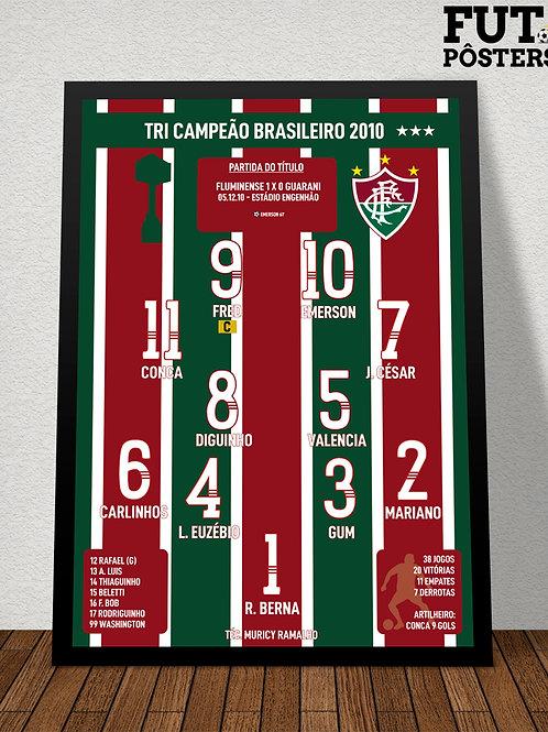 Pôster Fluminense Tri Campeão Brasileiro 2010 - 29,7 x 42 cm (A3)