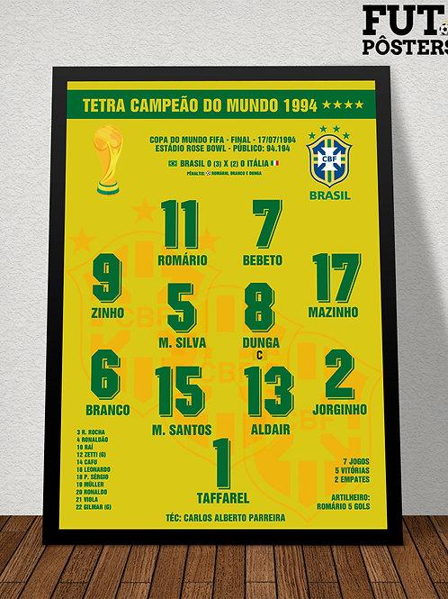 Pôster Brasil Tetra Campeão do Mundo 1994 - 29,7 x 42 cm (A3)