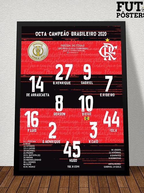 Pôster Flamengo Octa Campeão Brasileiro 2020 - 29,7 x 42 cm (A3)
