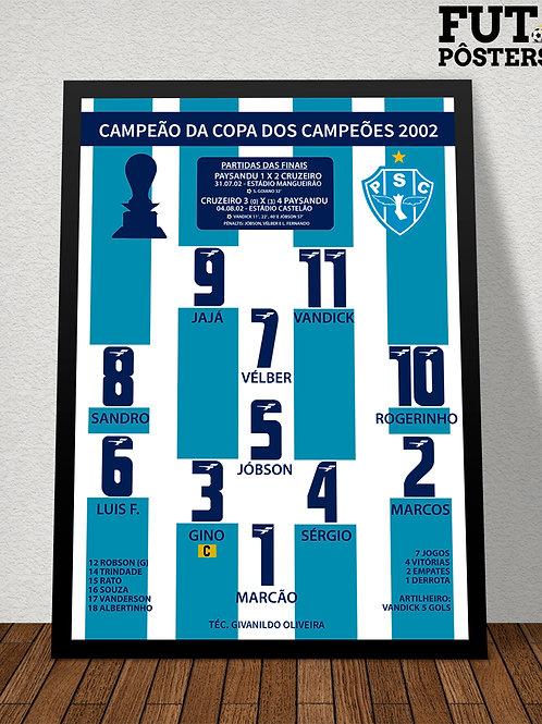 Pôster Paysandu Campeão da Copa do Campeões 2002 - 29,7 x 42 cm (A3)