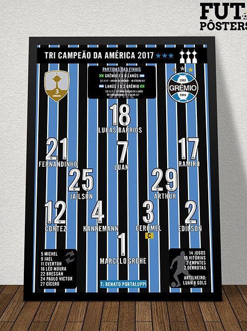 Pôster Grêmio Tri Campeão da Libertadores 2017 - 29,7 x 42 cm (A3)