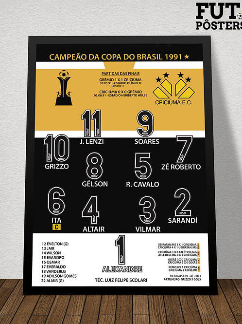 Pôster Criciúma Campeão da Copa do Brasil 1991 - 29,7 x 42 cm (A3)