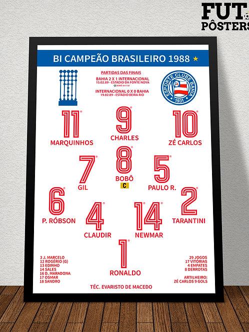 Pôster Bahia Campeão Brasileiro 1988 - 29,7 x 42 cm (A3)