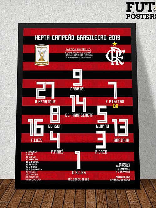Pôster Flamengo Hepta Campeão Brasileiro - 29,7 x 42 cm (A3)