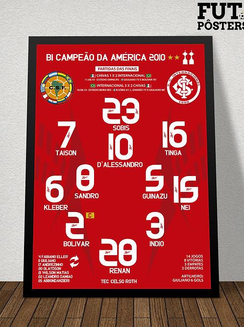 Pôster Inter Bi Campeão da Libertadores 2010 - 29,7 x 42 cm (A3)