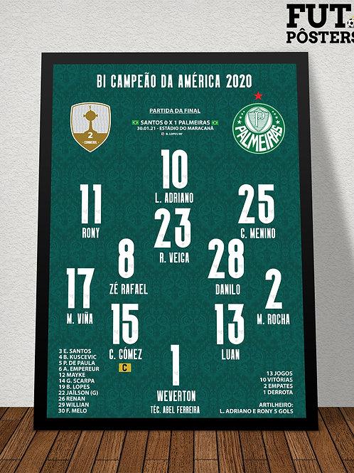 Pôster Palmeiras Bi Campeão da Libertadores 2020 - 29,7 x 42 cm (A3)