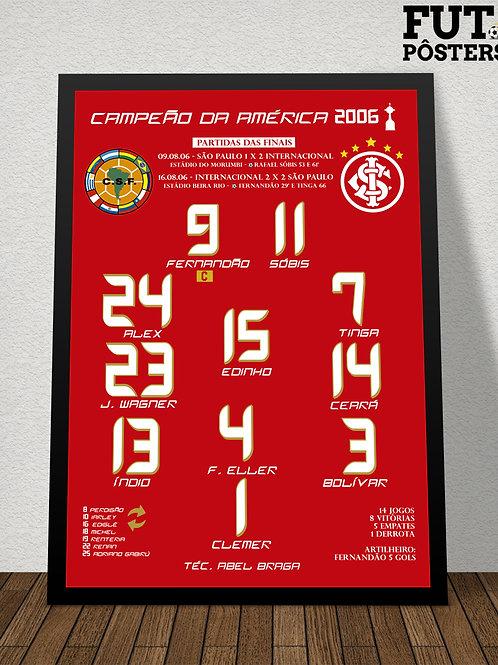 Pôster Inter Campeão da Libertadores 2006 - 29,7 x 42 cm (A3)