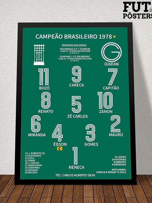 Pôster Guarani Campeão Brasileiro 1978 - 29,7 x 42 cm (A3)