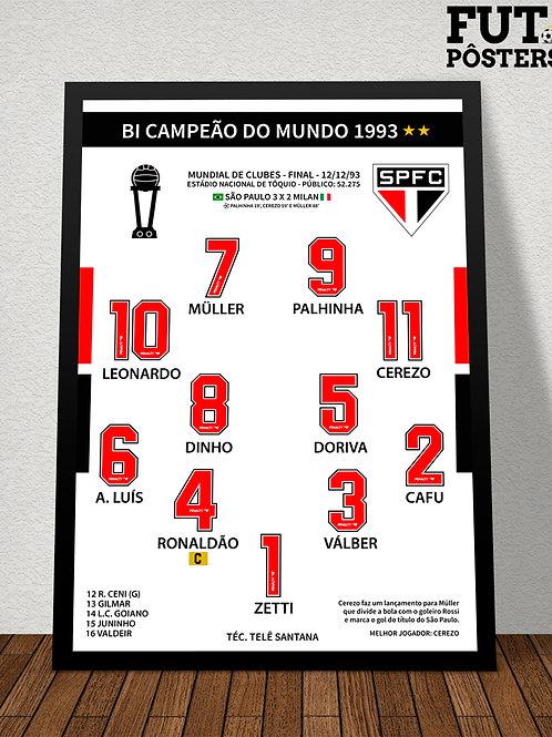 Pôster São Paulo Bi Campeão do Mundo 1993 - 29,7 x 42 cm (A3)