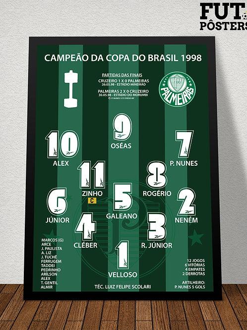 Pôster Palmeiras Campeão da Copa do Brasil  1998 - 29,7 x 42 cm (A3)
