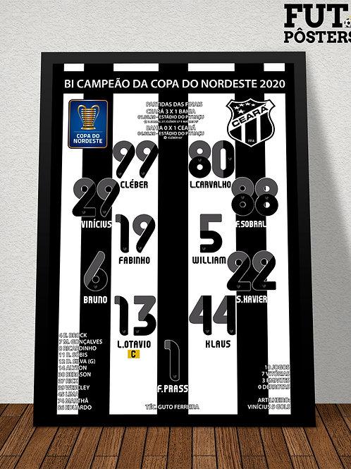 Pôster Ceará Bi Campeão da Copa do Nordeste 2020 - 29,7 x 42 cm (A3)
