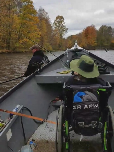 My pal Hunter doing some salmon catchin!